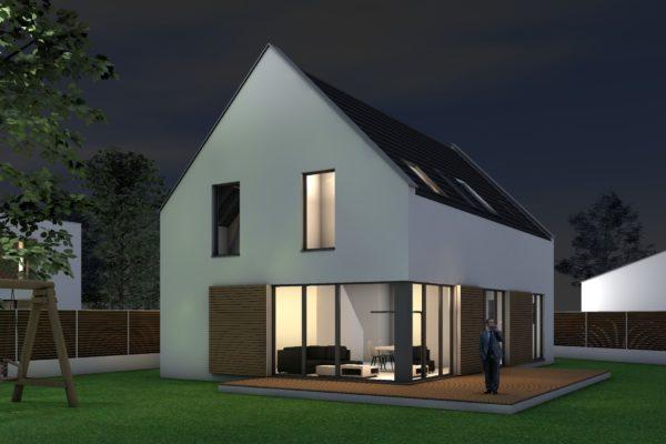 Das Kompakte Einfamilienhaus Perspektive Außen Nacht