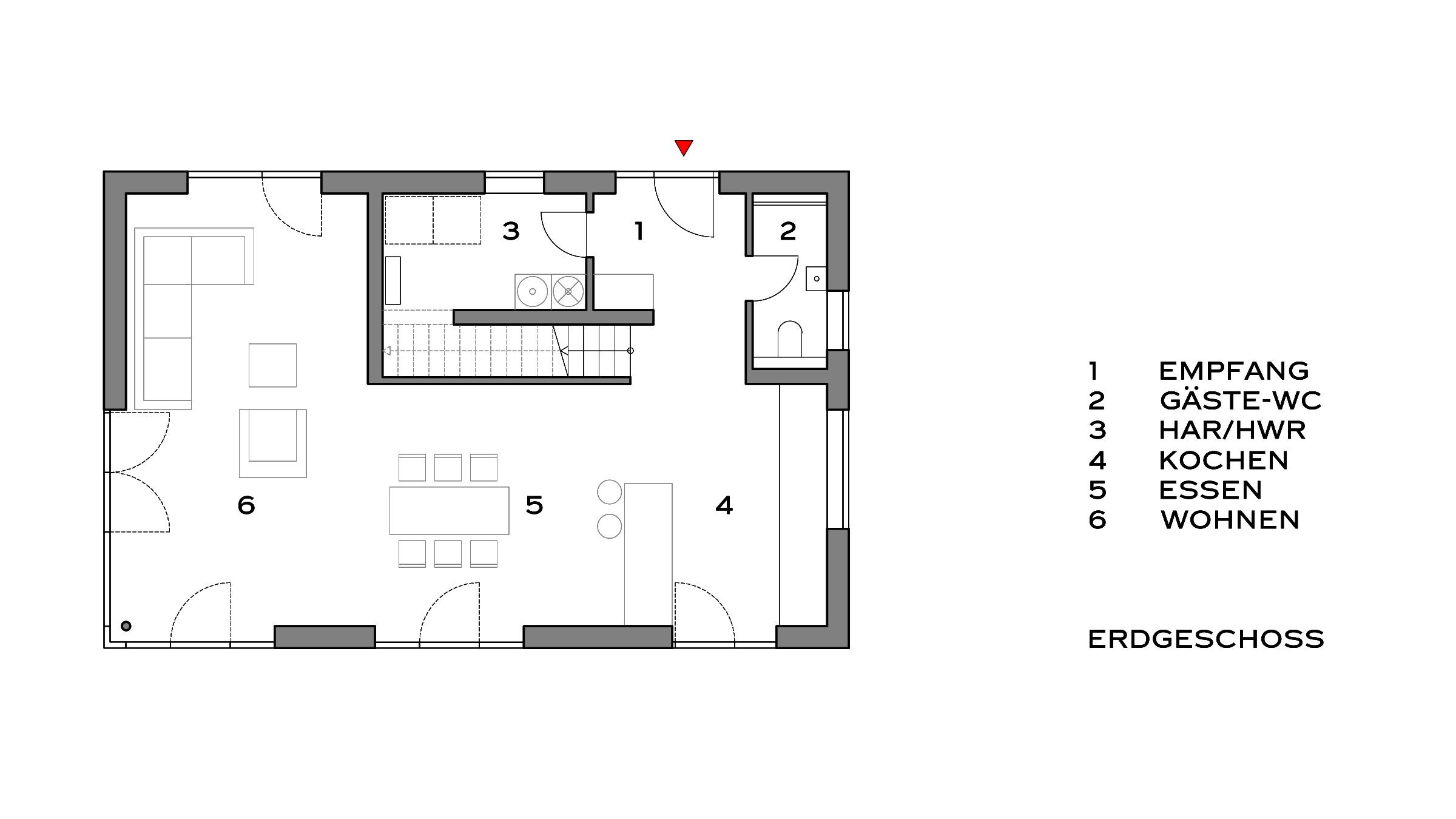 Einfamilienhaus mit Satteldach Grundriss Erdgeschoss