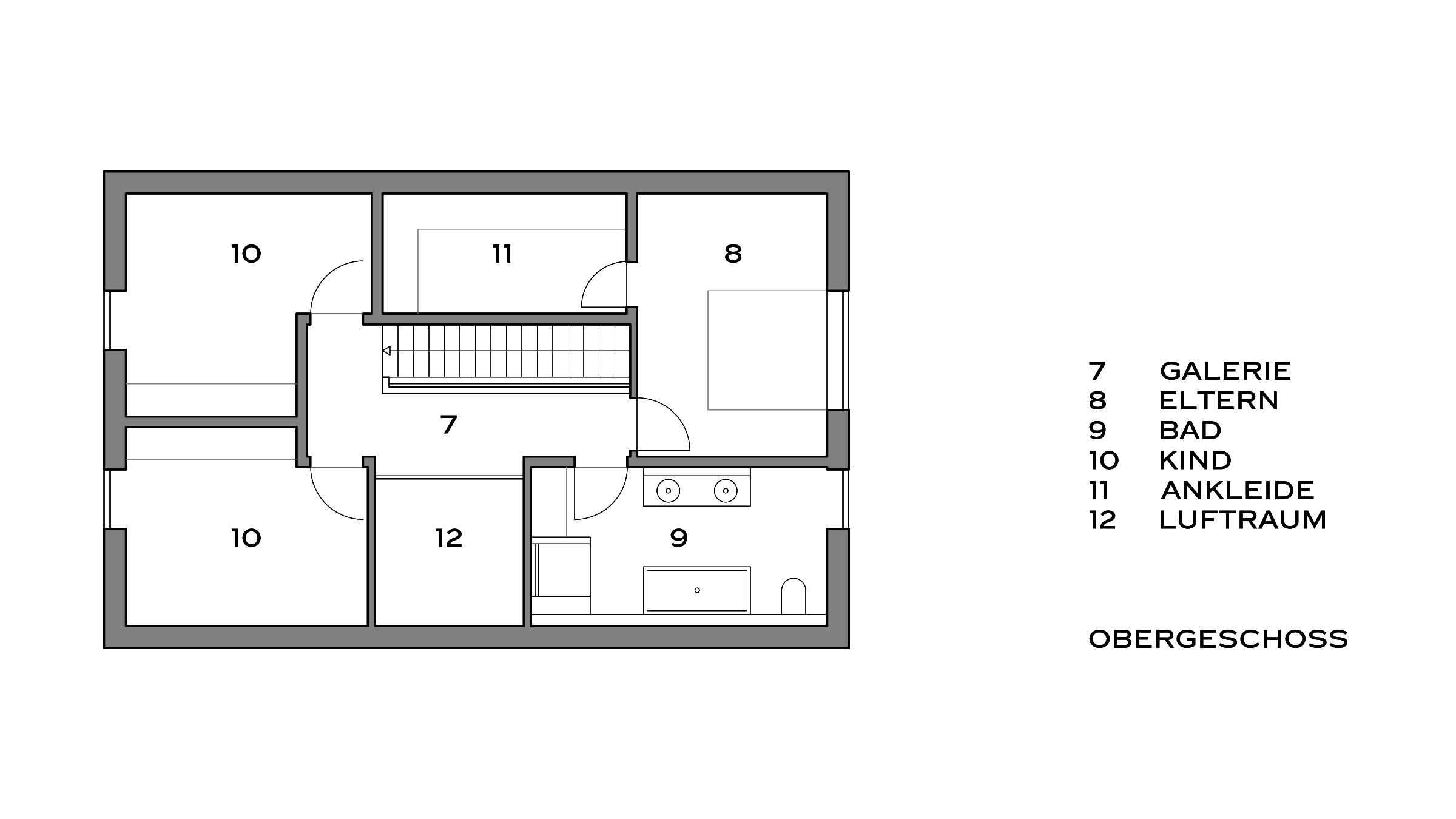 Einfamilienhaus mit Satteldach Grundriss Obergeschoss