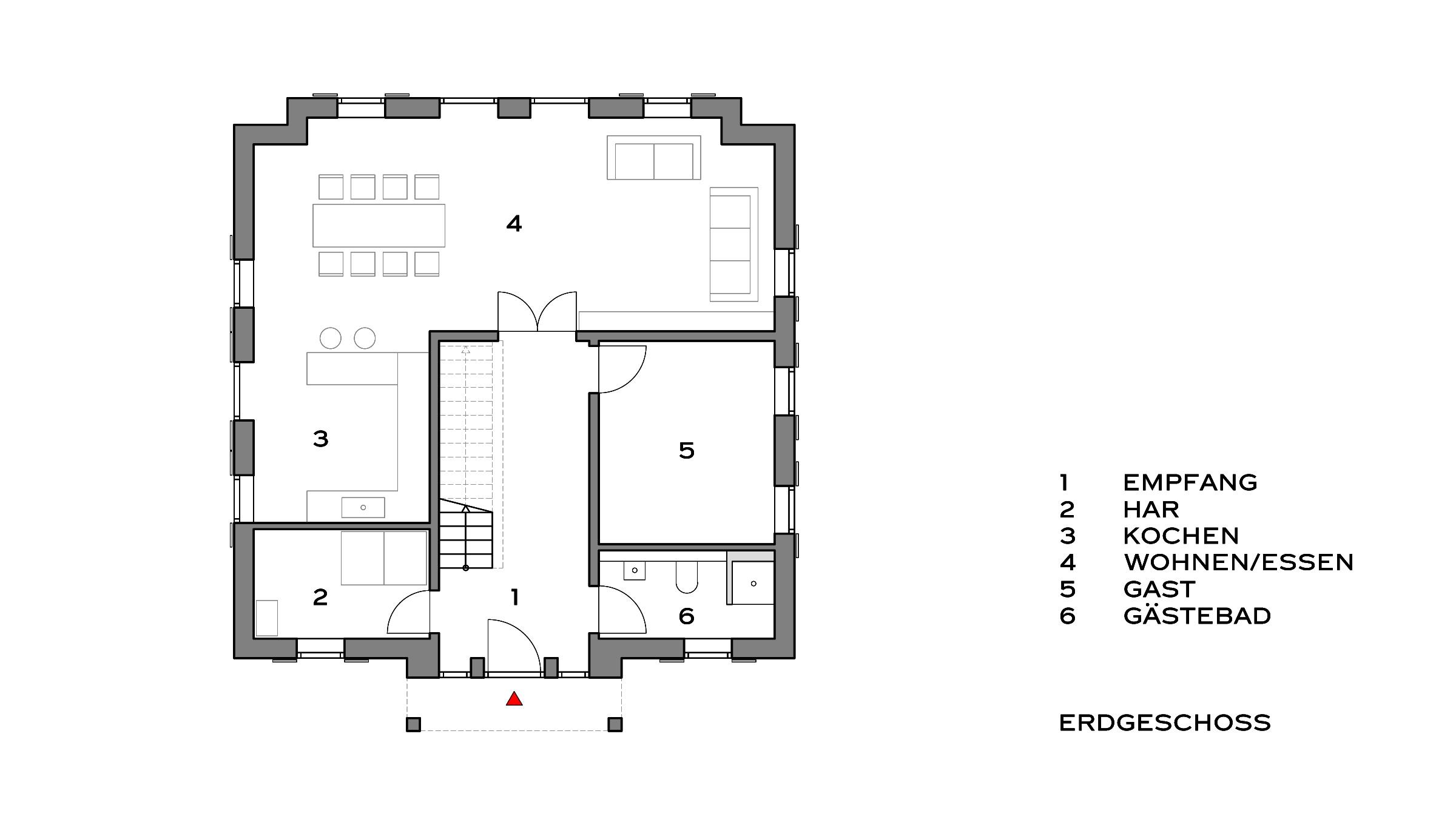 Klassisches Einfamilienhaus mit Attika Grundriss Erdgeschoss