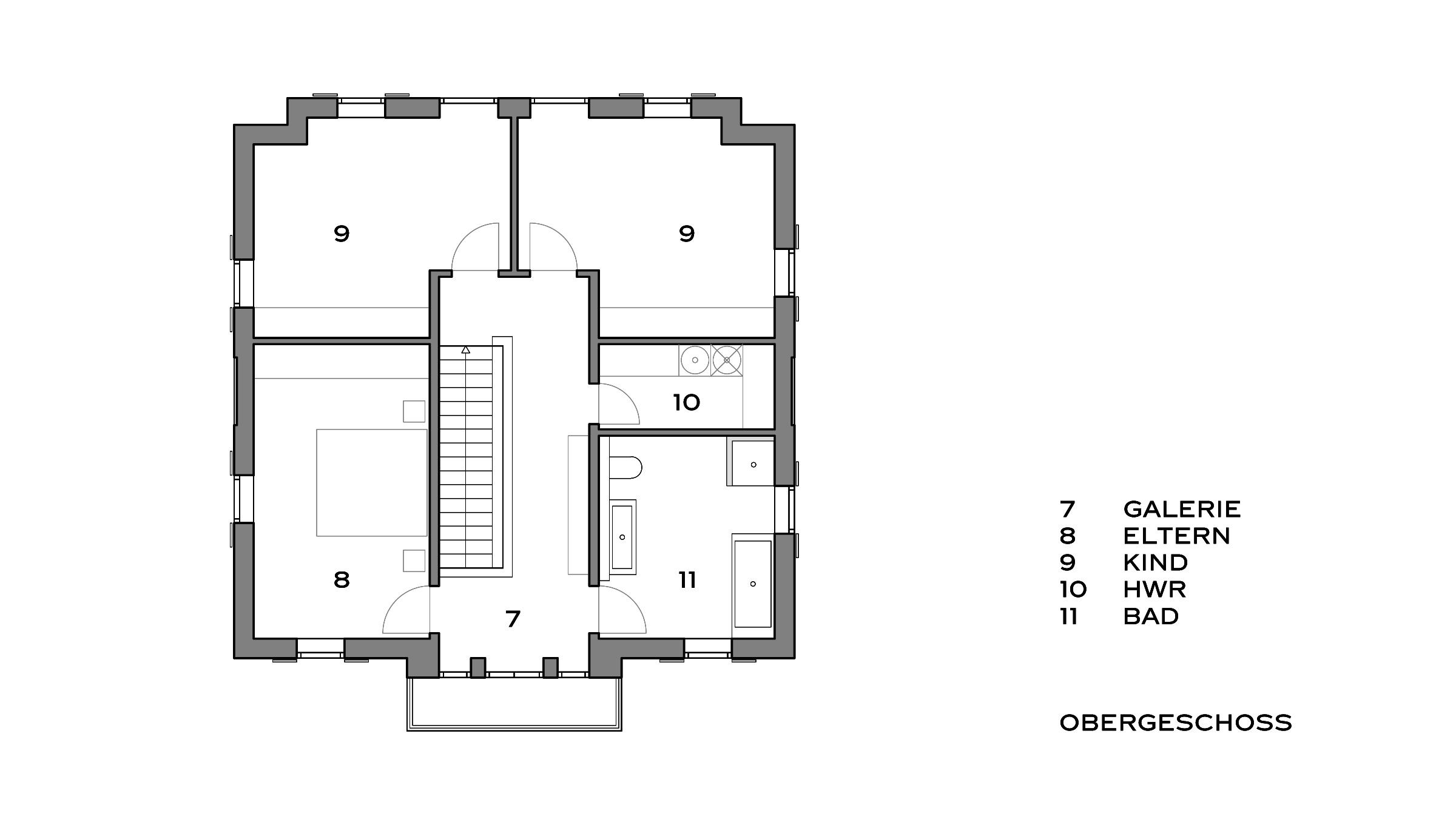 Klassisches Einfamilienhaus mit Attika Grundriss Obergeschoss