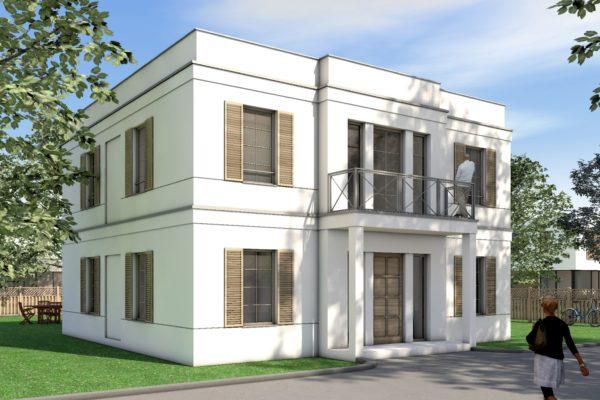 Klassisches Einfamilienhaus Fensterläden Attika
