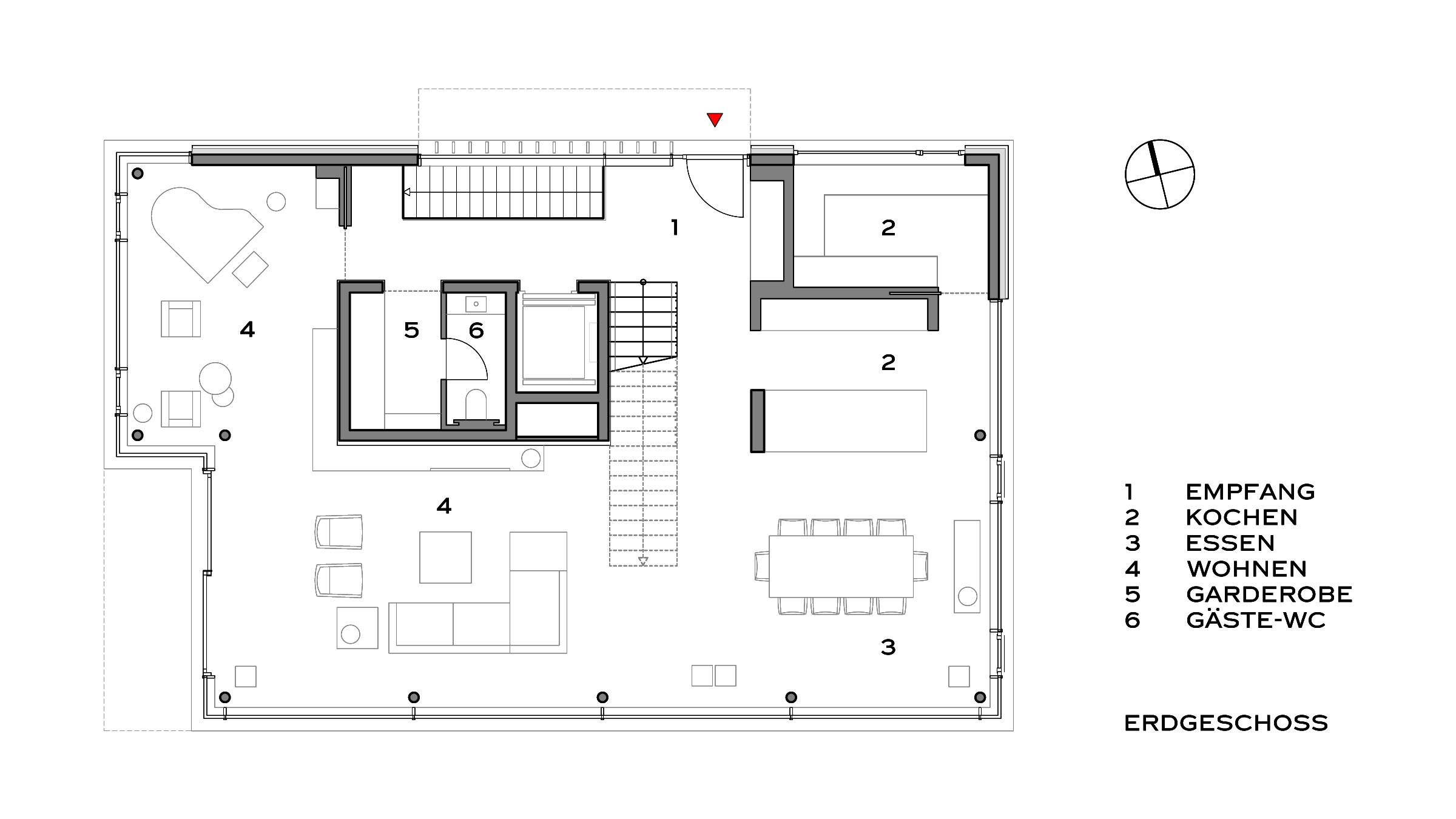 Moderne Villa im Bauhausstil Grundriss Erdgeschoss