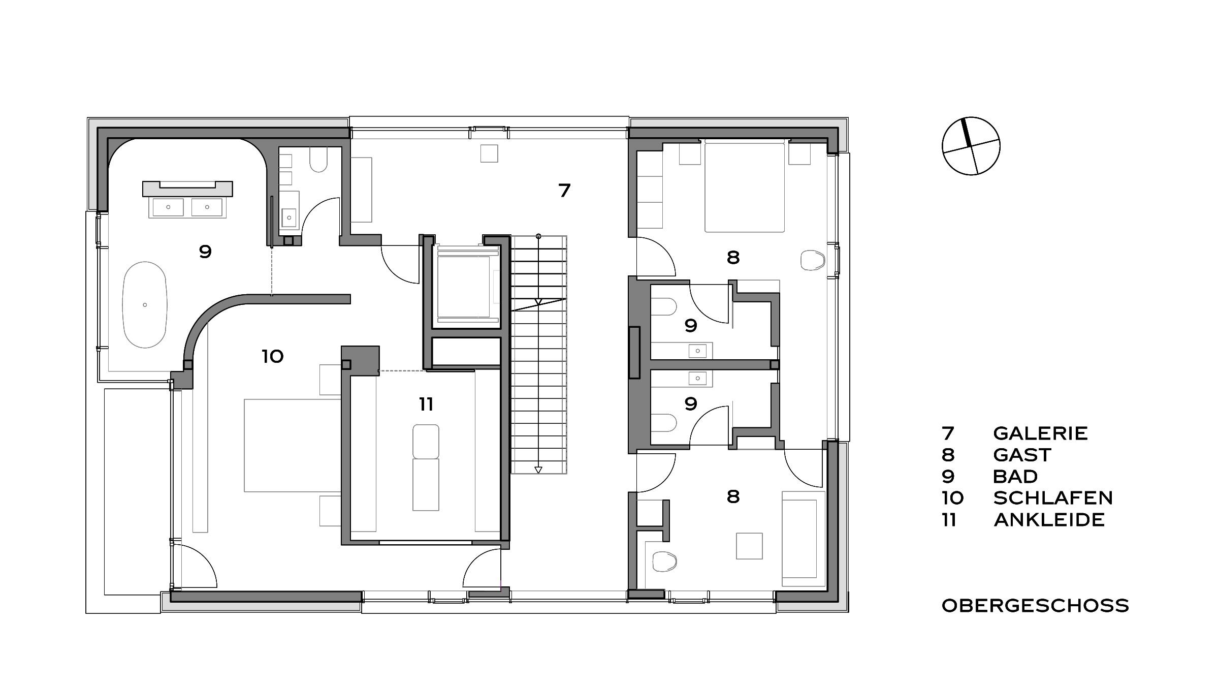 Moderne Villa im Bauhausstil Grundriss Obergeschoss
