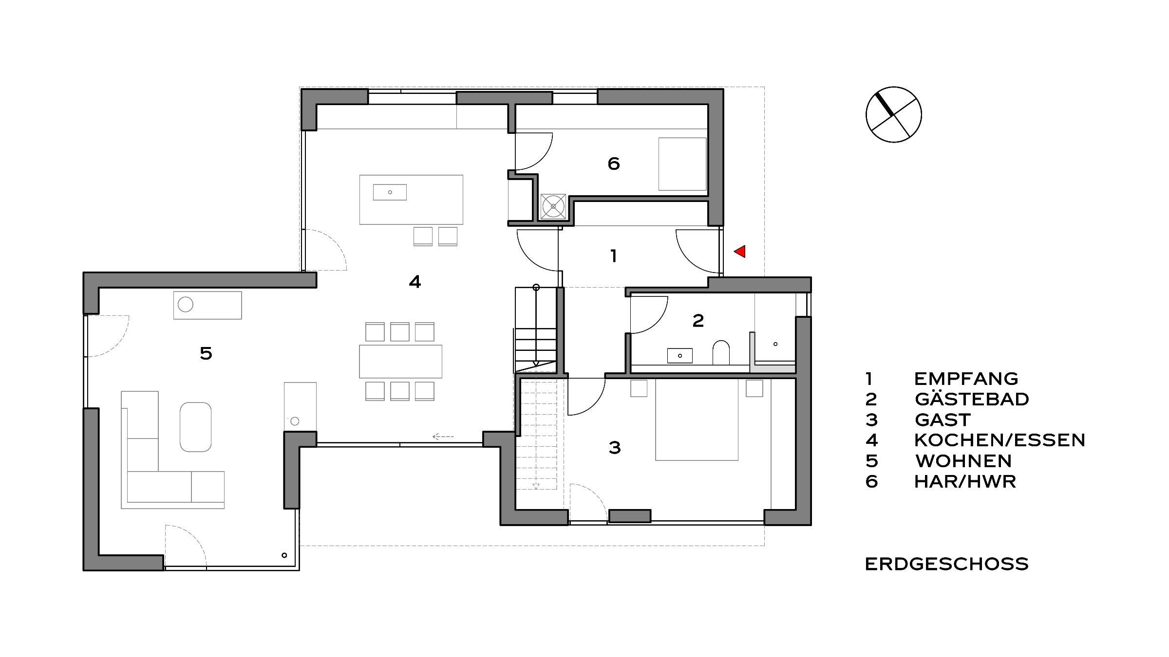 Modernes Einfamilienhaus in Potsdam Grundriss Erdgeschoss