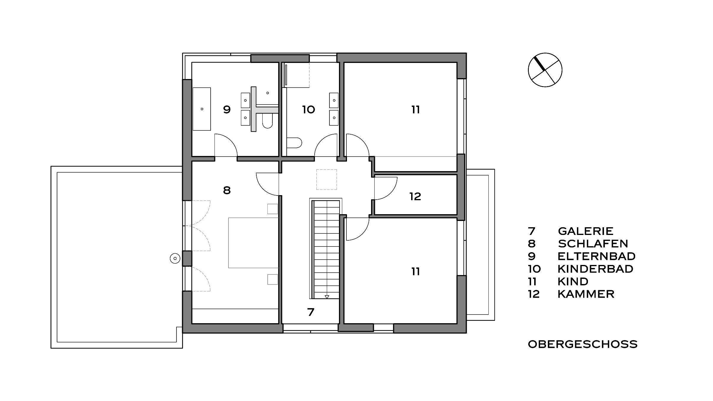 Modernes Einfamilienhaus in Potsdam Grundriss Obergeschoss