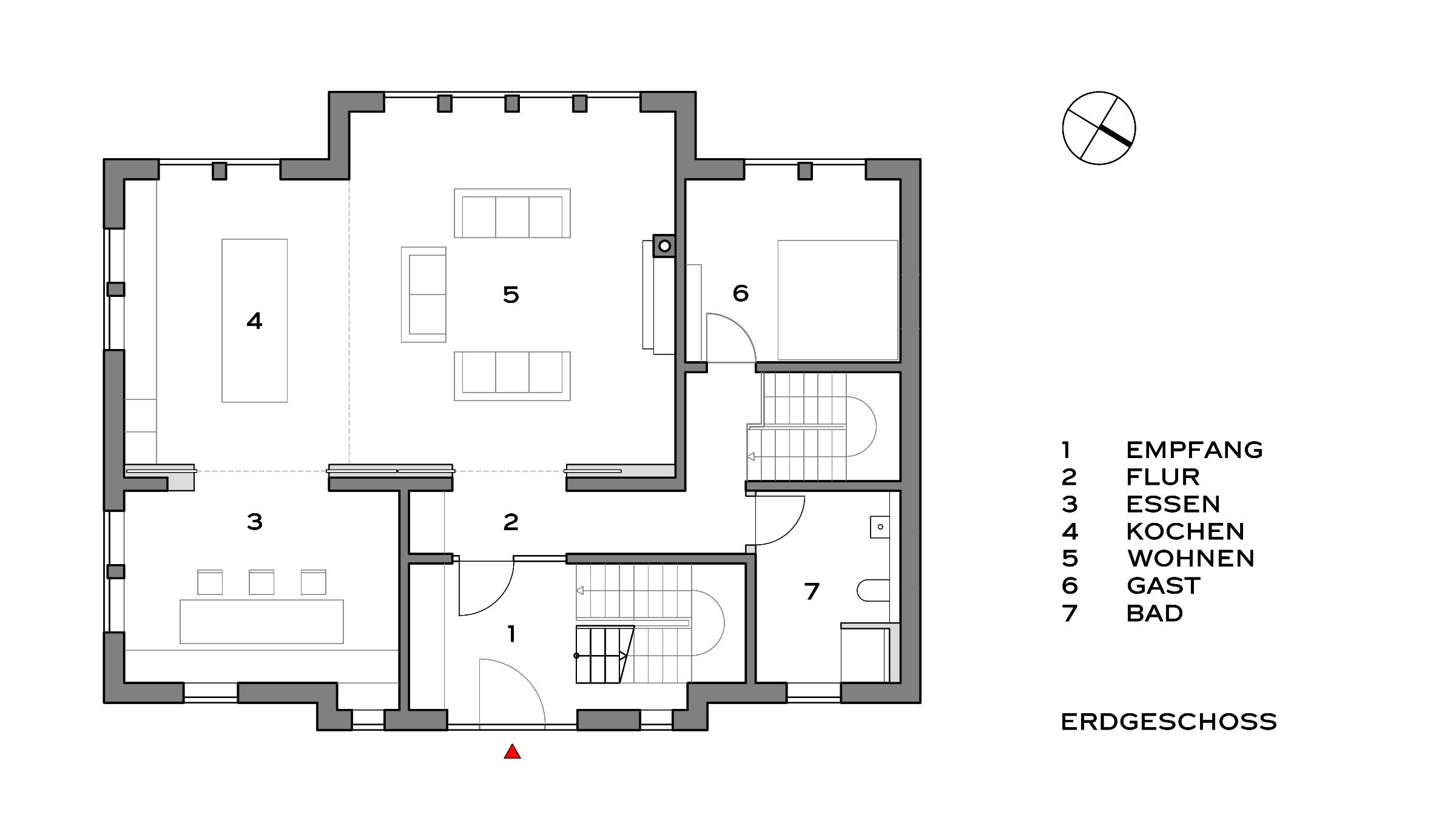 Villa im Landhausstil Grundriss Erdgeschoss
