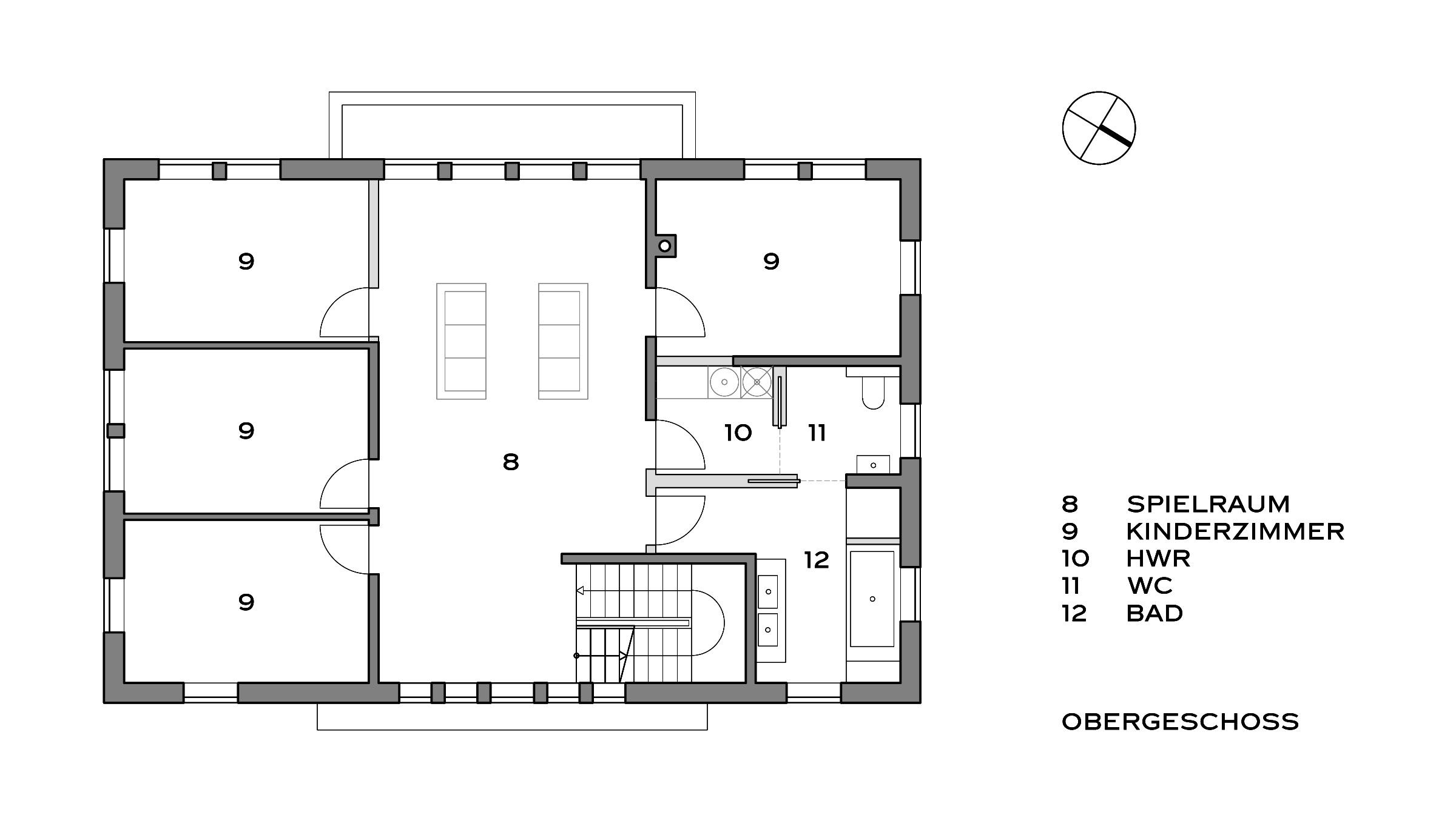 Villa im Landhausstil Grundriss Obergeschoss